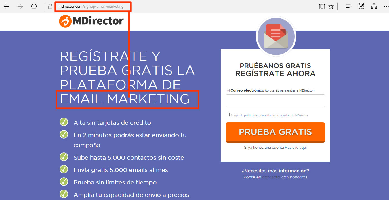 landing page email marketing MDirector