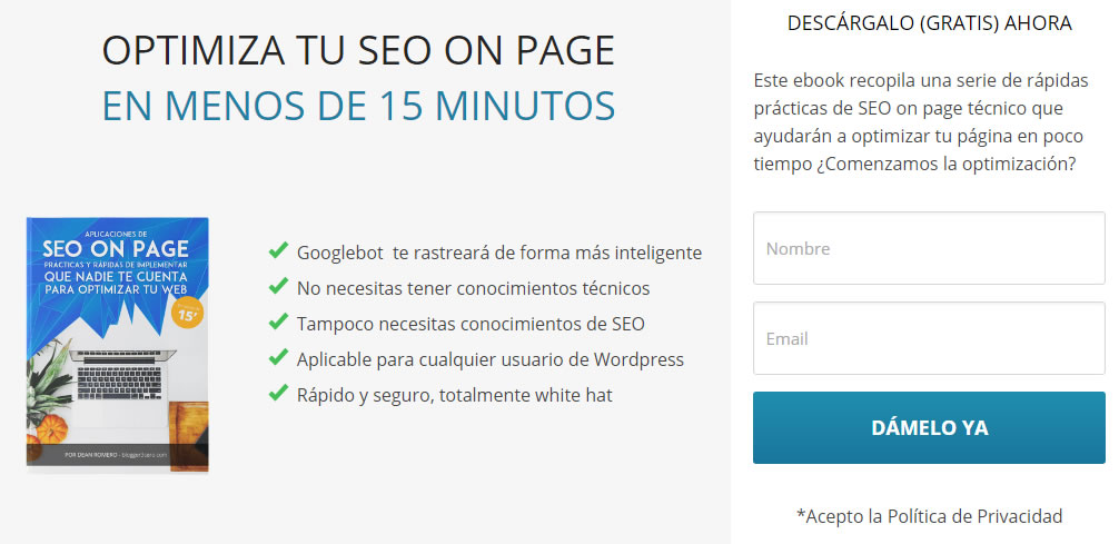 optimizar el SEO de landing pages: formularios