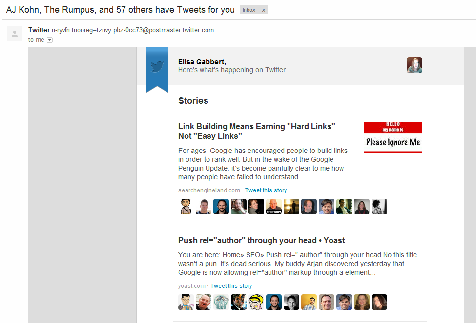 Examples of successful email marketing campaigns: Twitter