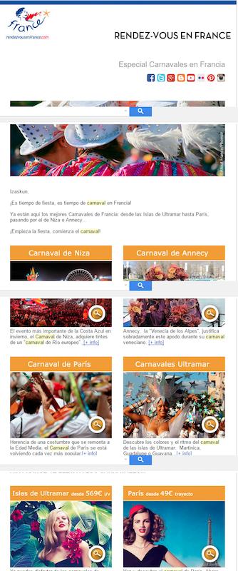 newsletters carnavaleras para agencias de viaje