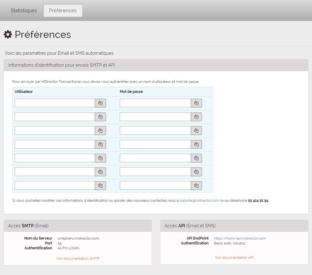 email transactionnel de MDirector: préférence