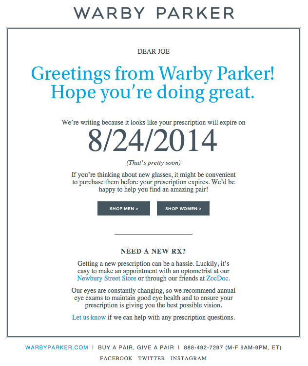 Examples of successful email marketing campaigns: Warby Parker