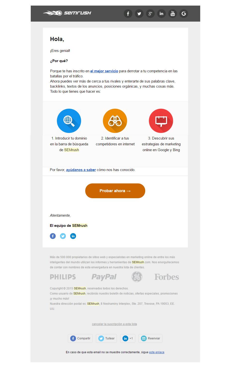 mail di benvenuto in grado di incrementare il tasso di conversione: SemRush