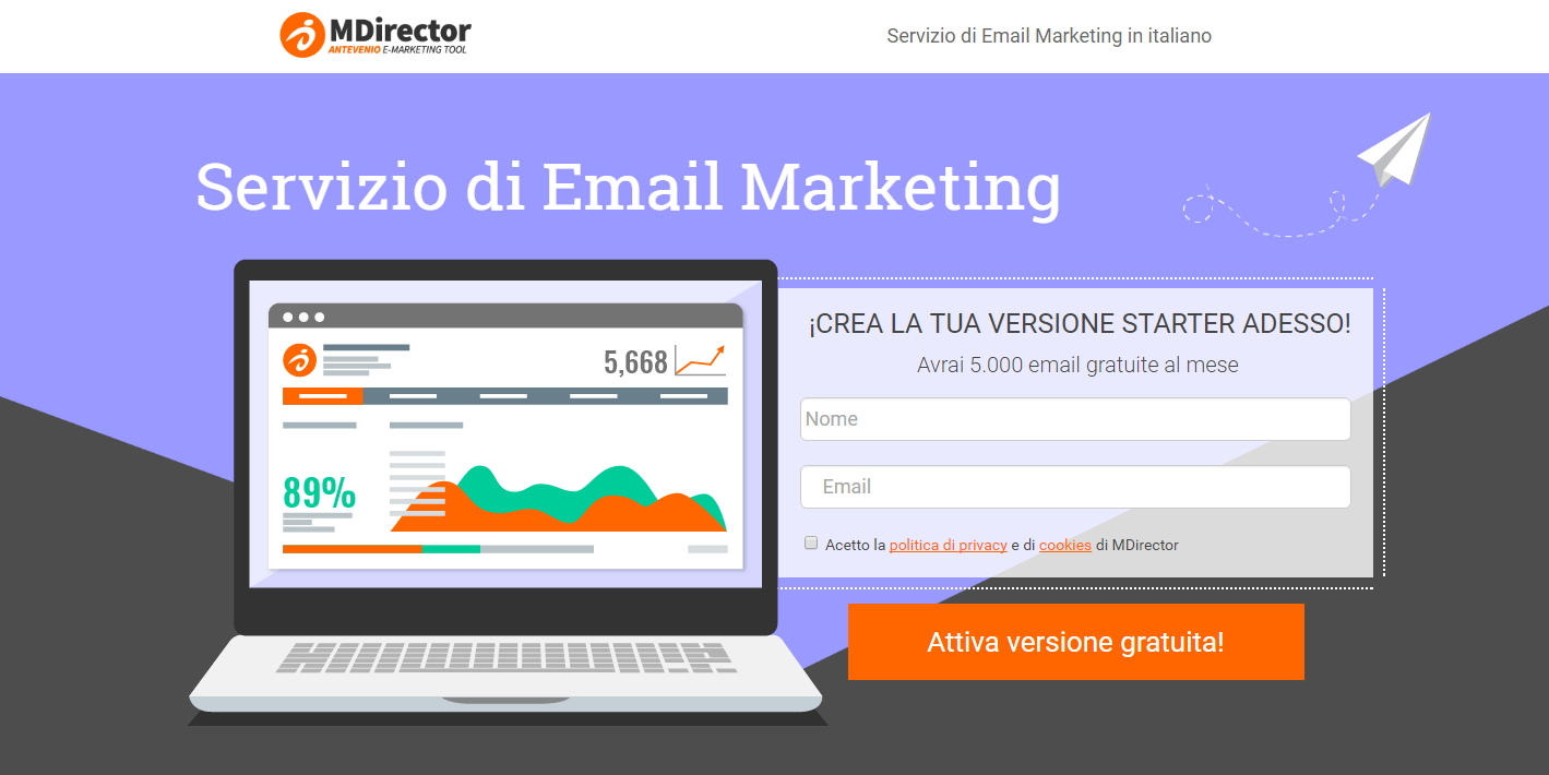 esempi di landing pages perfette: MDirector