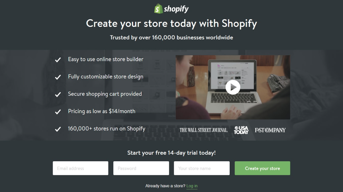 esempi di landing pages perfetta: shopify
