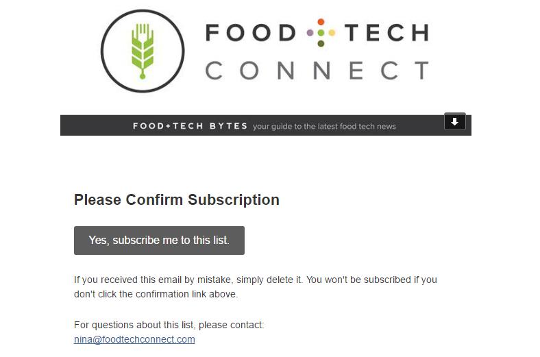 mail di benvenuto in grado di incrementare il tasso di conversione: Food Tech