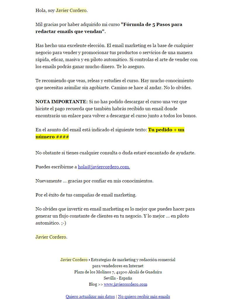 mail di benvenuto in grado di incrementare il tasso di conversione: Javier Cordero