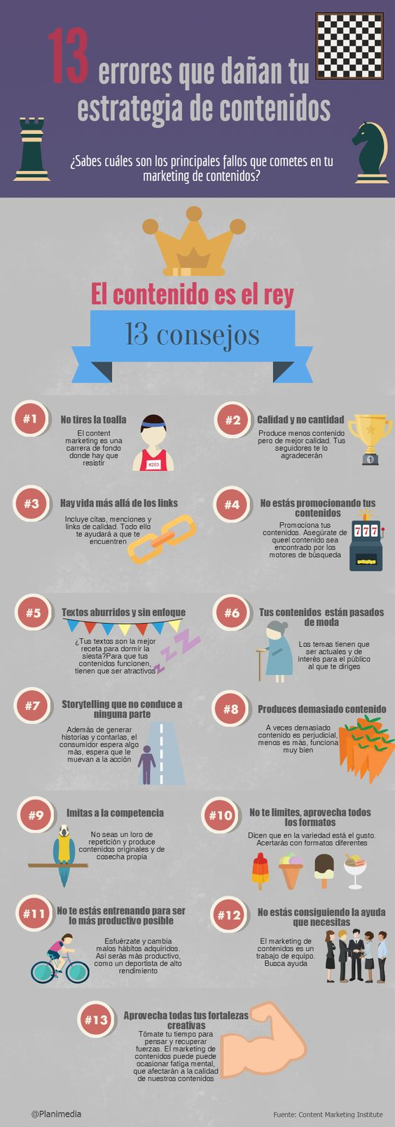 pecados de marketing digital: 13 errores de marketing de contenidos