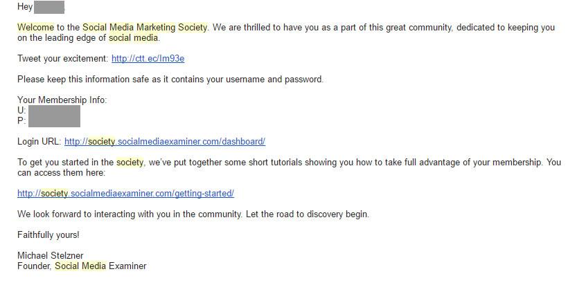 mail di benvenuto in grado di incrementare il tasso di conversione: Social Media Society