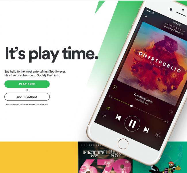 landing page Spotify