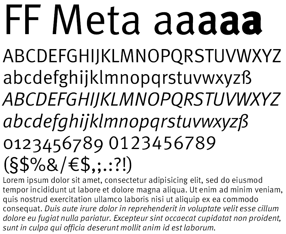 25 most used typefaces in advertising: Meta