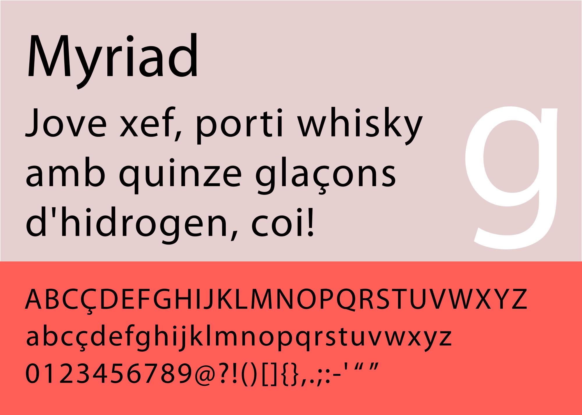 Caratteri tipografici pipù utilizzati in pubblicità: Myriad