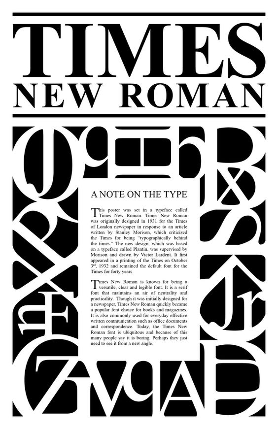 25 most used typefaces in advertising: Times New Roman
