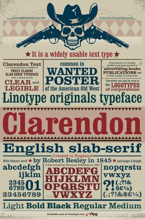 Caratteri tipografici pipù utilizzati in pubblicità: Clarendon