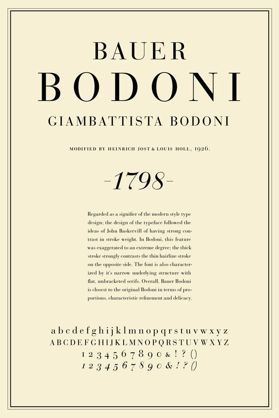 25 most used typefaces in advertising: Bodoni