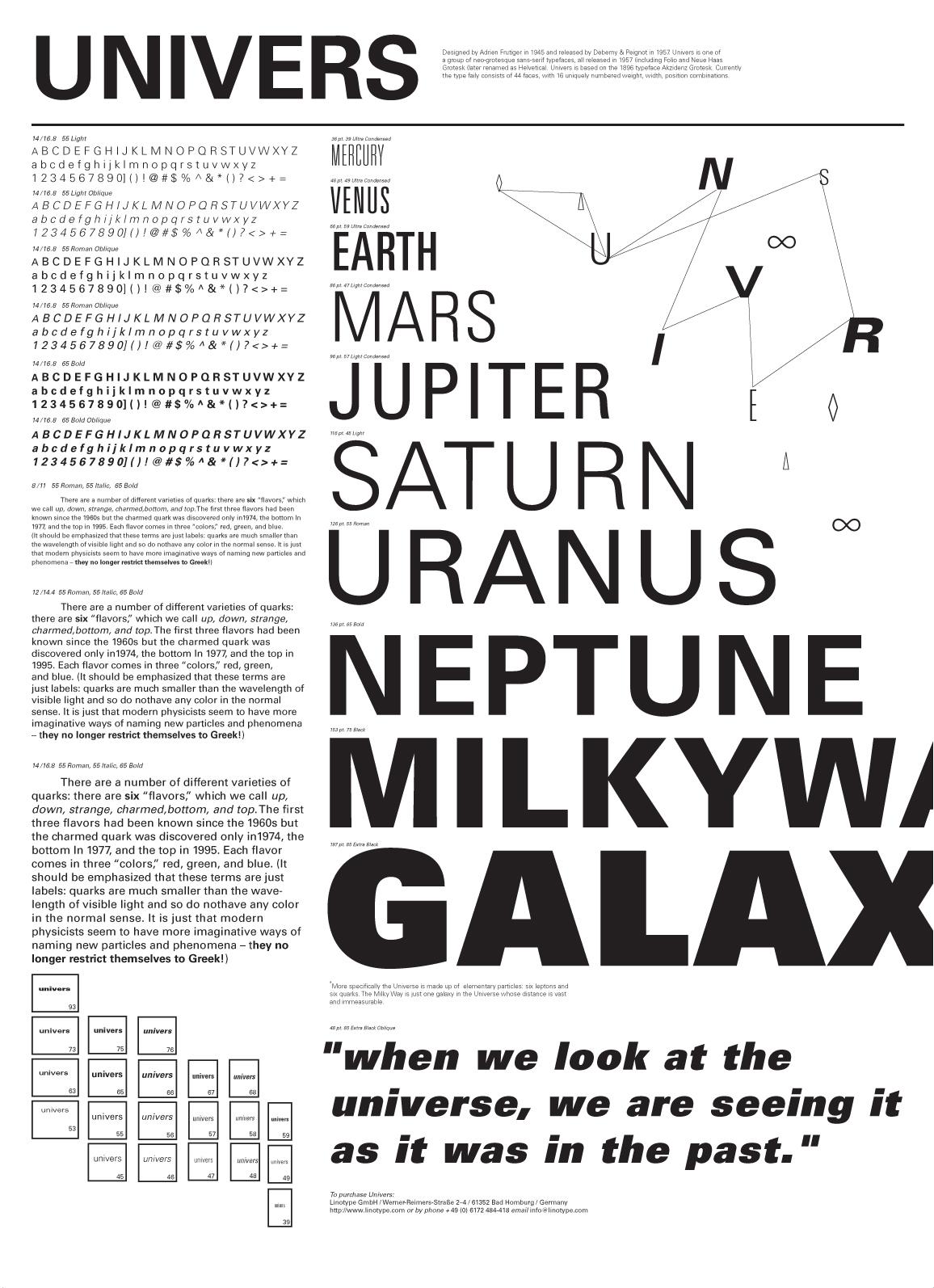 Caratteri tipografici pipù utilizzati in pubblicità: Univers