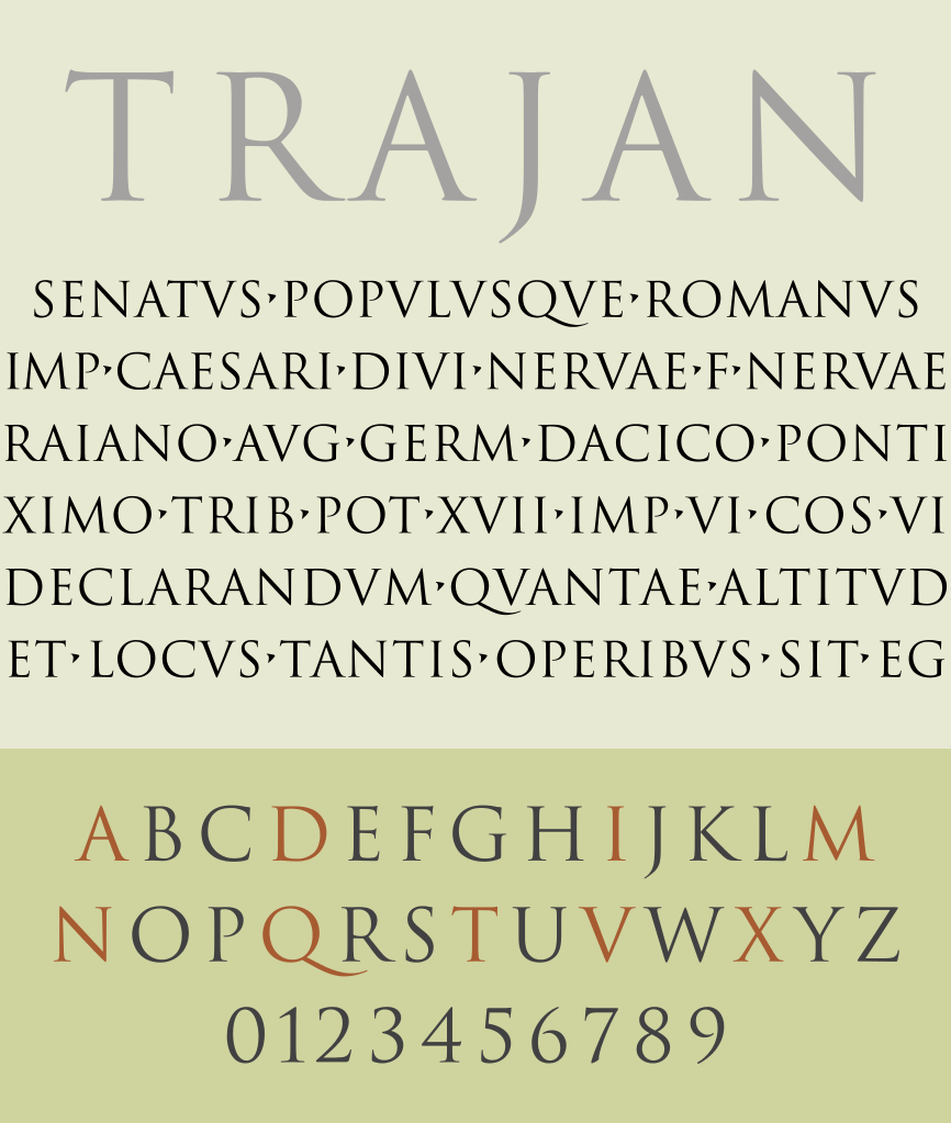 25 most used typefaces in advertising: Trajan