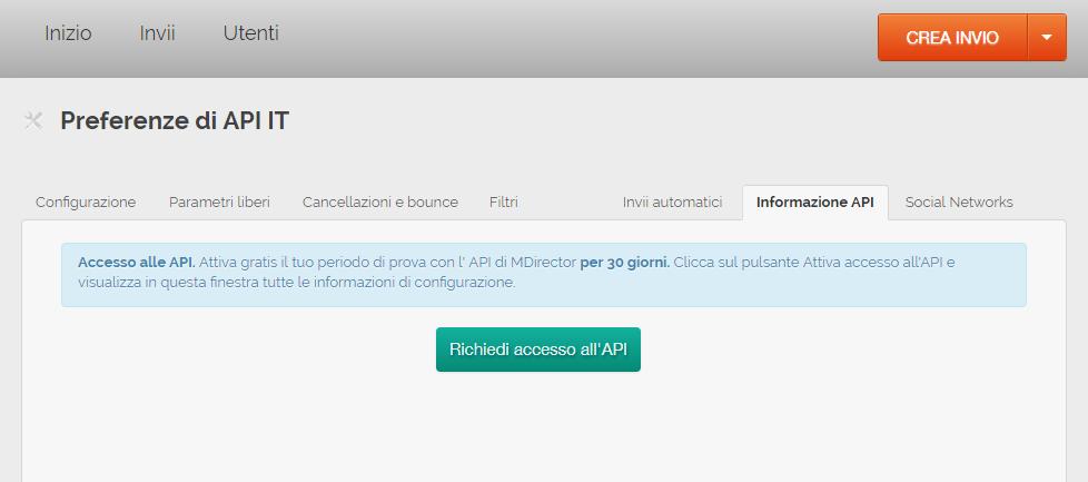 misurare le vendite generate via mail: Richedi acceso all'API