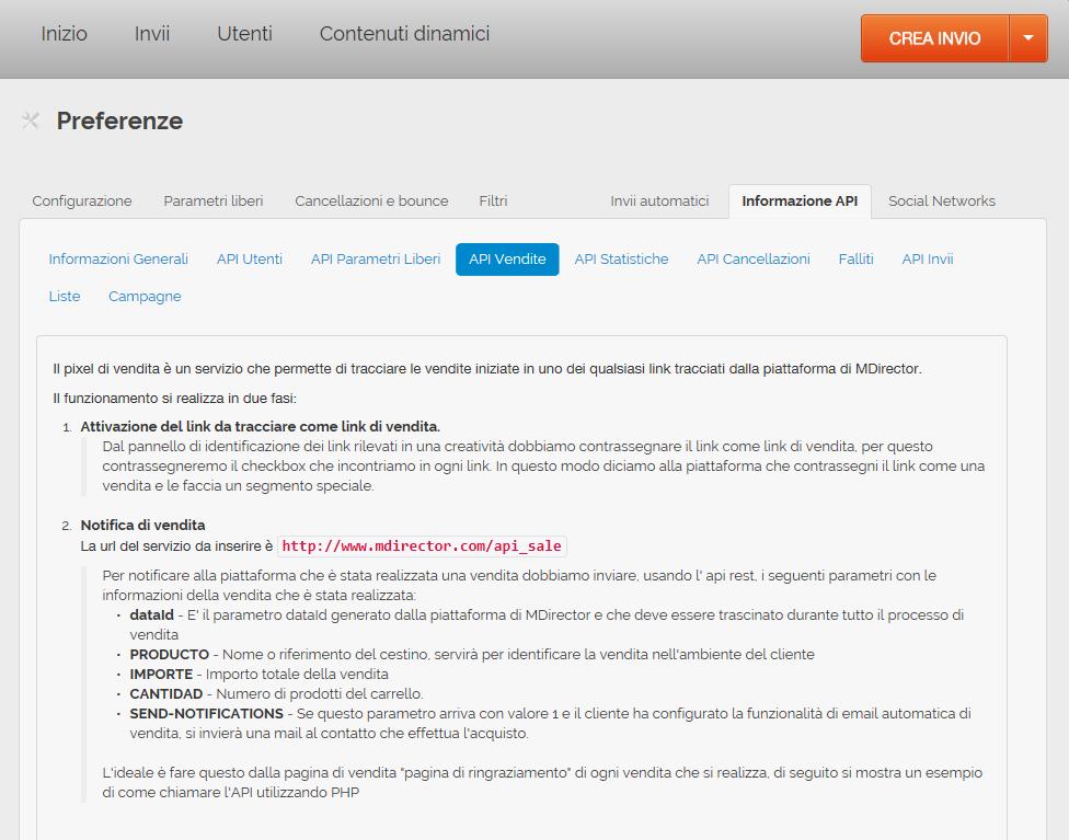 misurare le vendite generate via mail: Informazione API Vendite