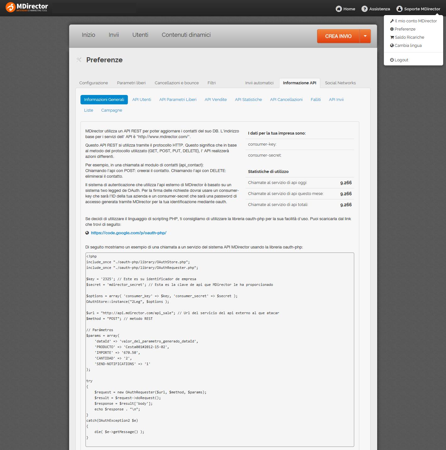 misurare le vendite generate via mail: Informazione API