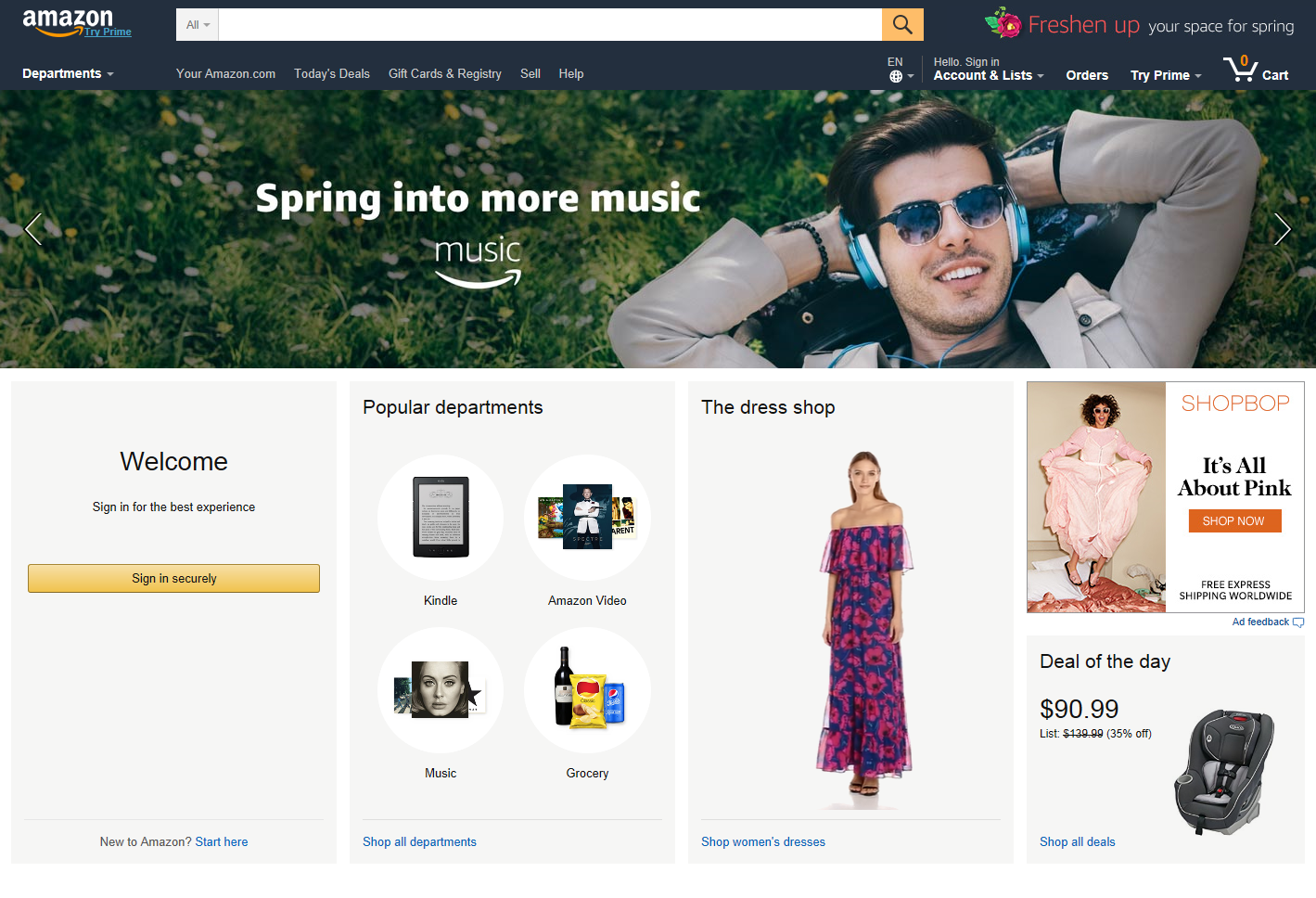 product landing pages: Amazon