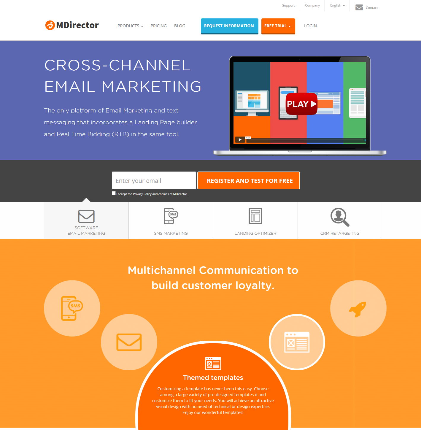 product landing pages: MDirector