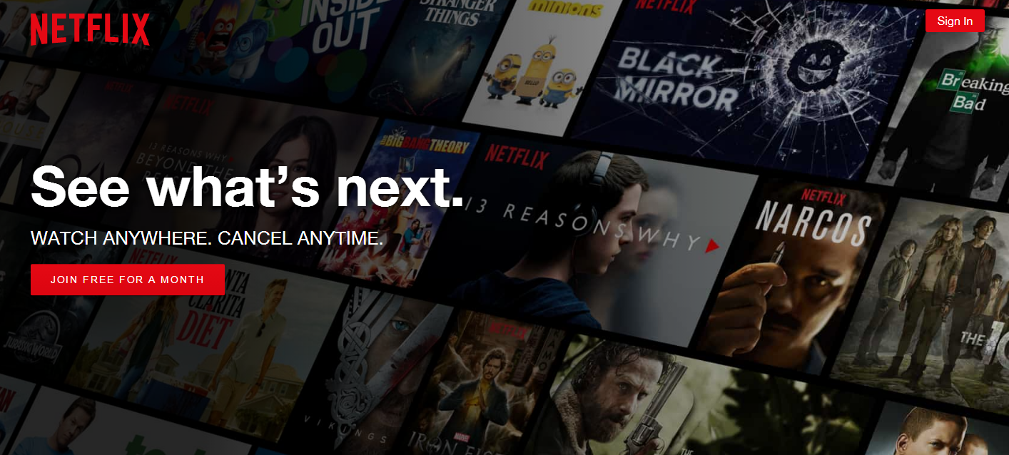 product landing pages: Netflix