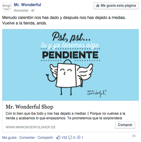 crear una campaña de retargeting: Mr Wonderful
