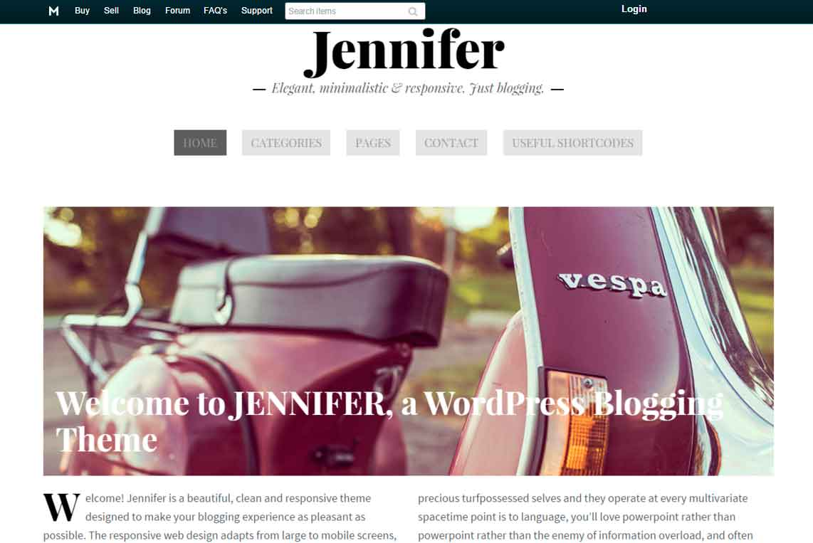 best WordPress templates: Jennifer