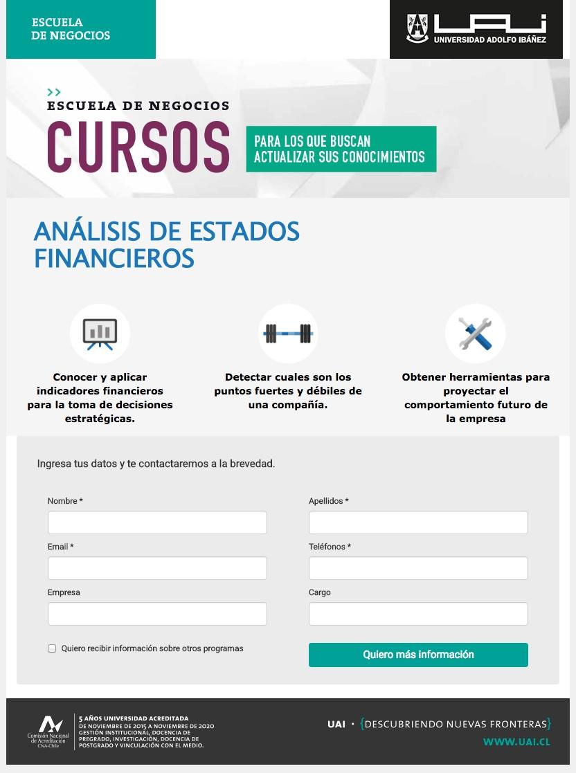 formularios para captar clientes: Universidad Alfonso Ibáñez