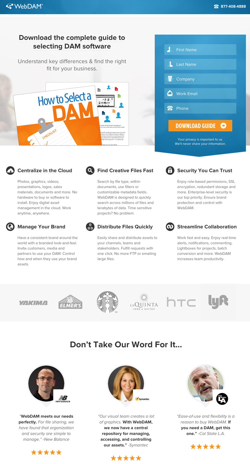 campañas exitosas de landing pages: WebDAM