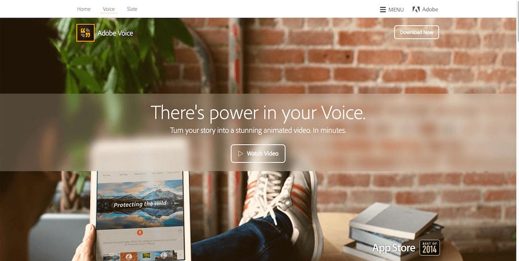campañas exitosas de landing pages: Adobe Voice