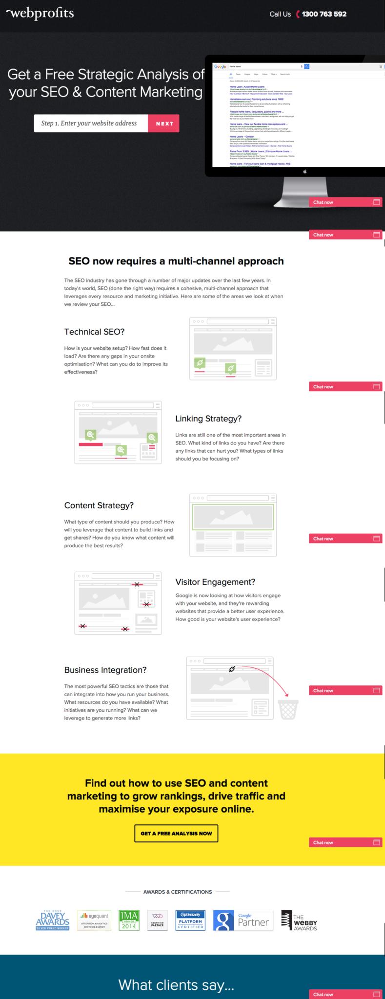 campañas exitosas de landing pages: WebProfits