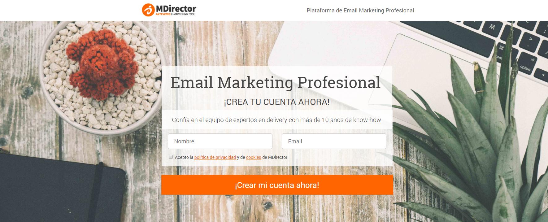 campañas exitosas de landing pages: MDirector