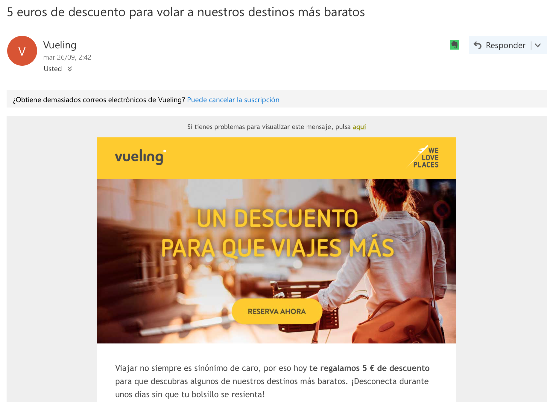 email marketing: Vueling