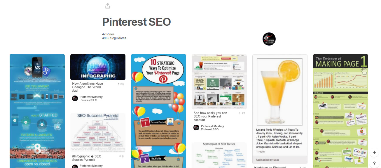 tableros de marketing digital: Pinterest SEO