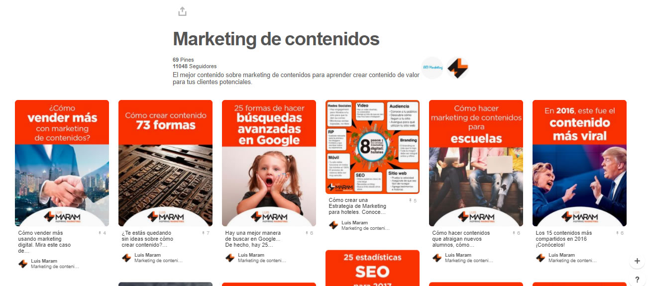 tableros de marketing digital: Marketing de contenidos