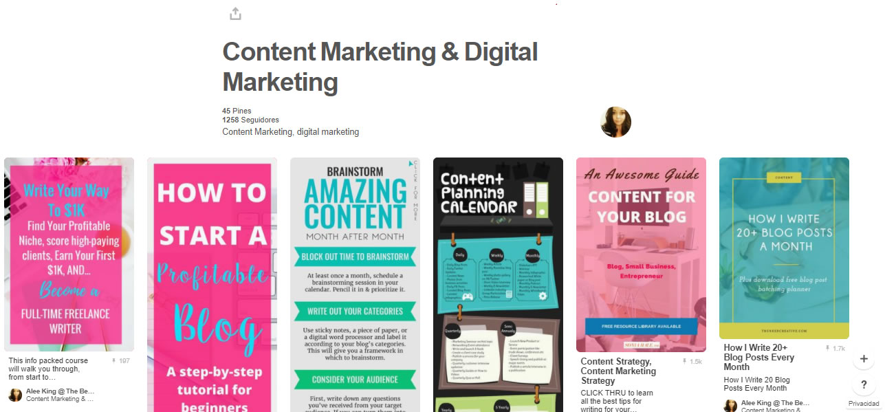 tableros de marketing digital: Content marketing