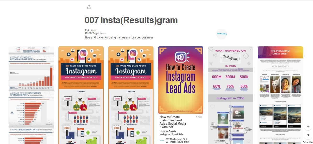 tableros de marketing digital: Instagram