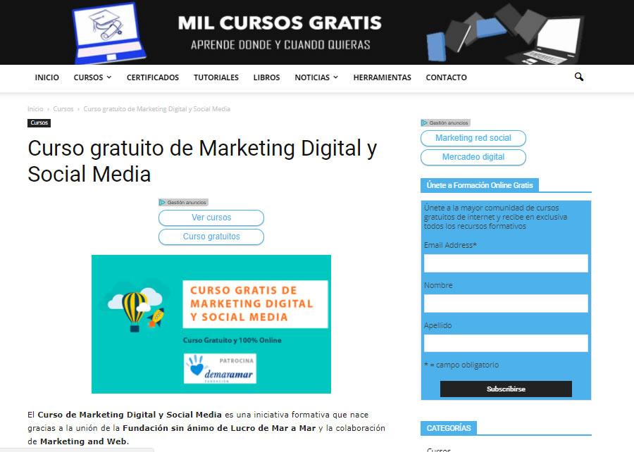 cursos gratuitos de marketing digital: Mil cursos gratis