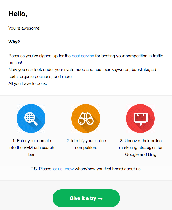 welcome emails that increase conversions: semrush