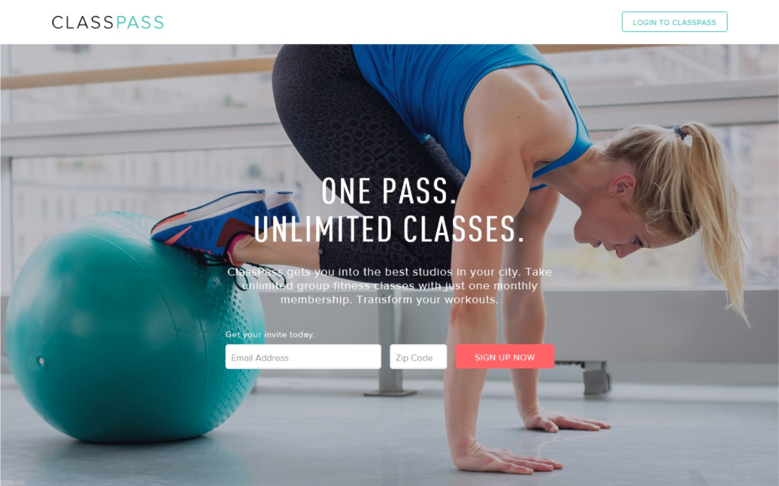 examples of perfect landing pages: Classpass