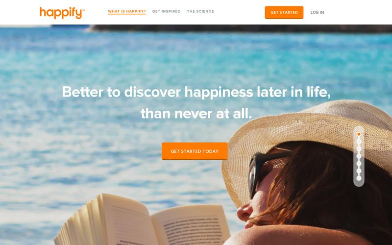 examples of perfect landing pages: Happify