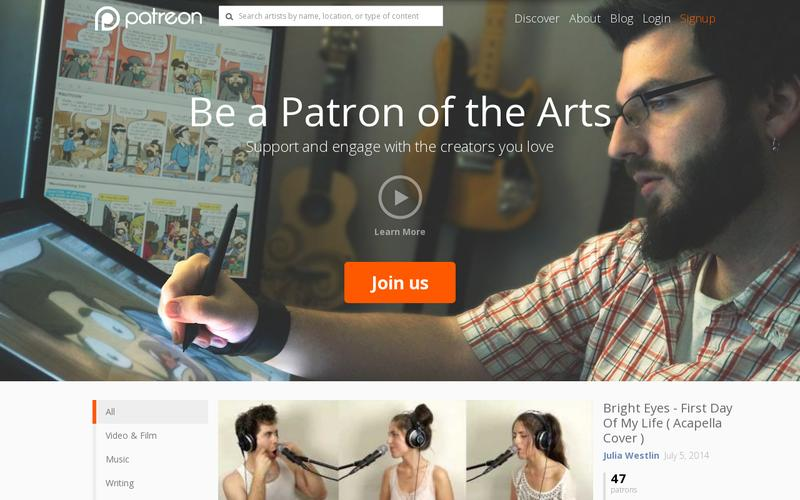 examples of perfect landing pages: Patreon