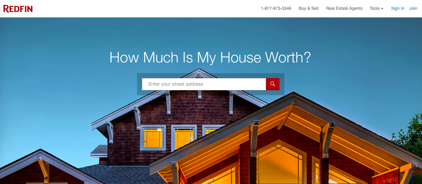 examples of perfect landing pages: Redfin