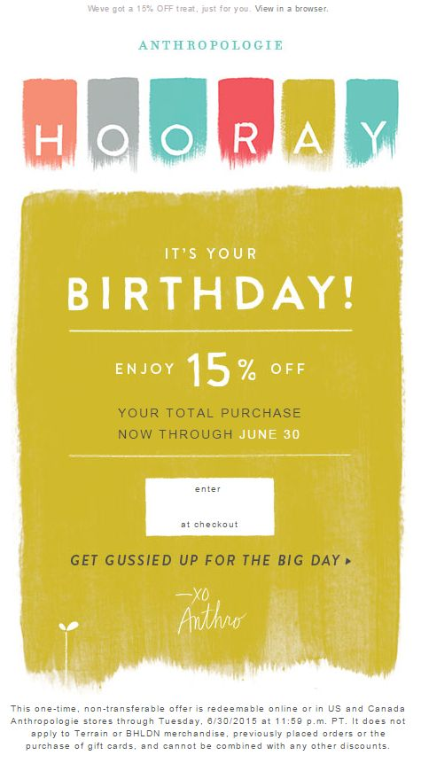 ecommerce que lo hacen bien en email marketing: Anthropologie