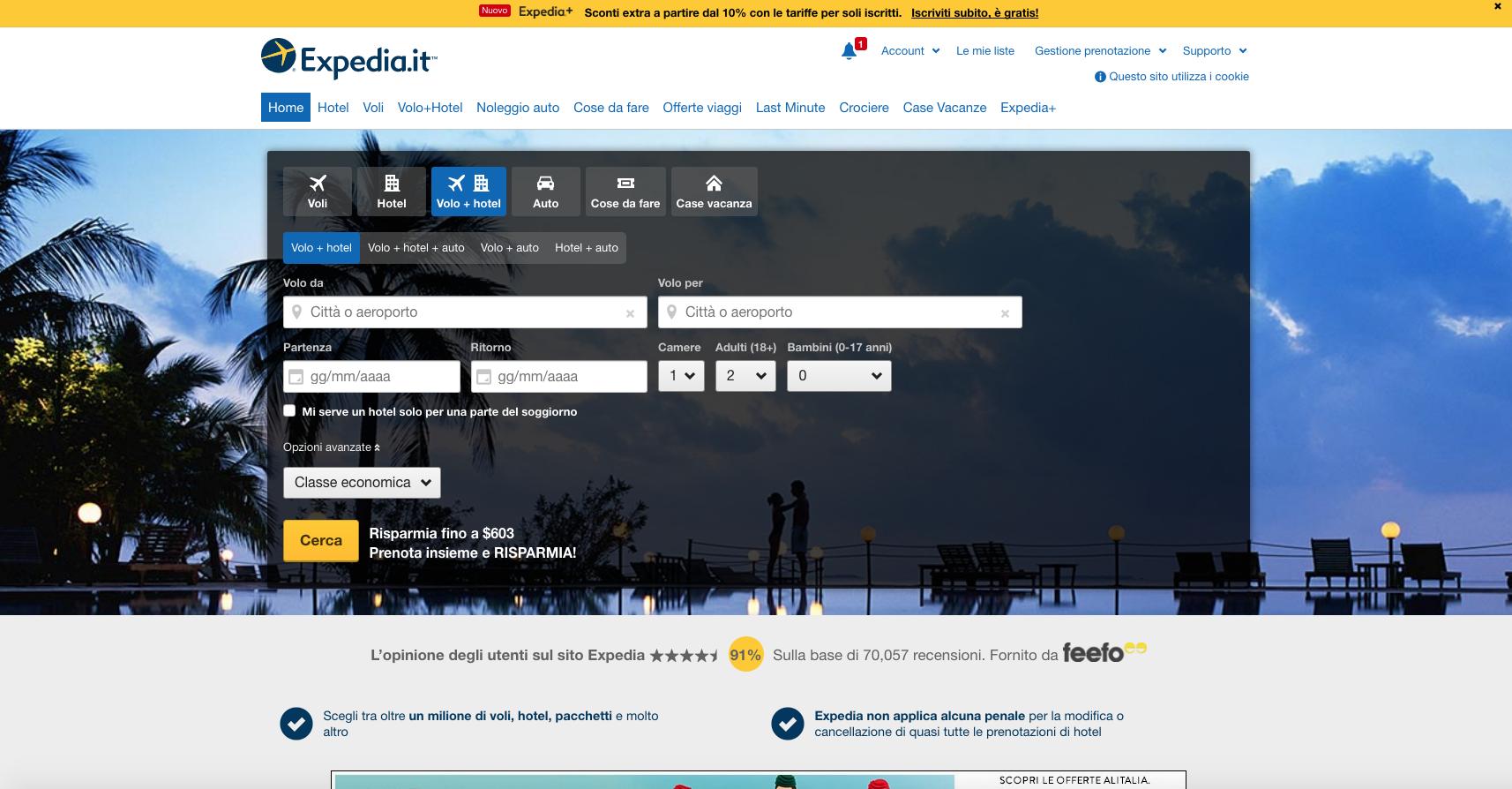 siti web di viaggi: expedia