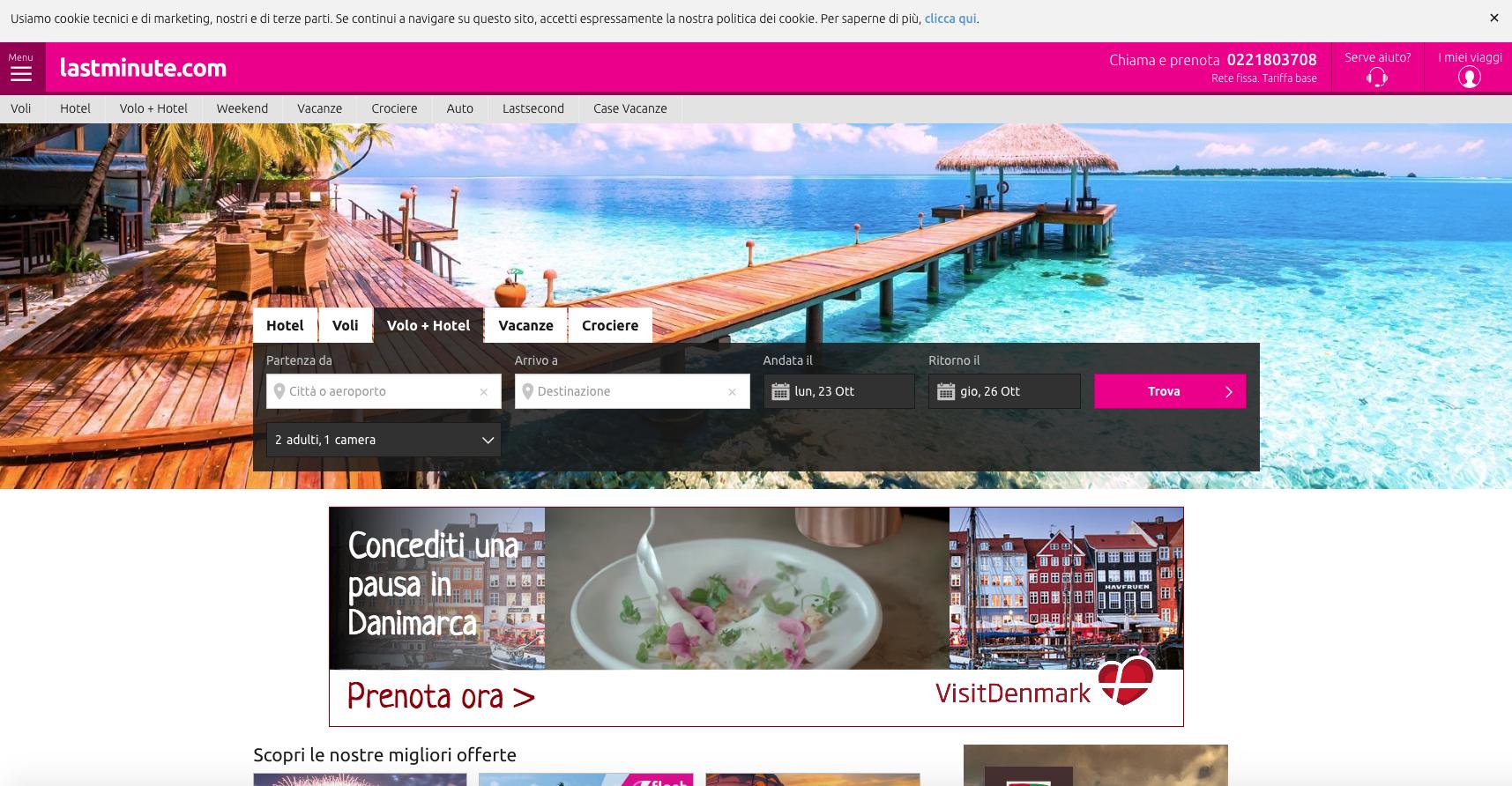 siti web di viaggi: lastminute