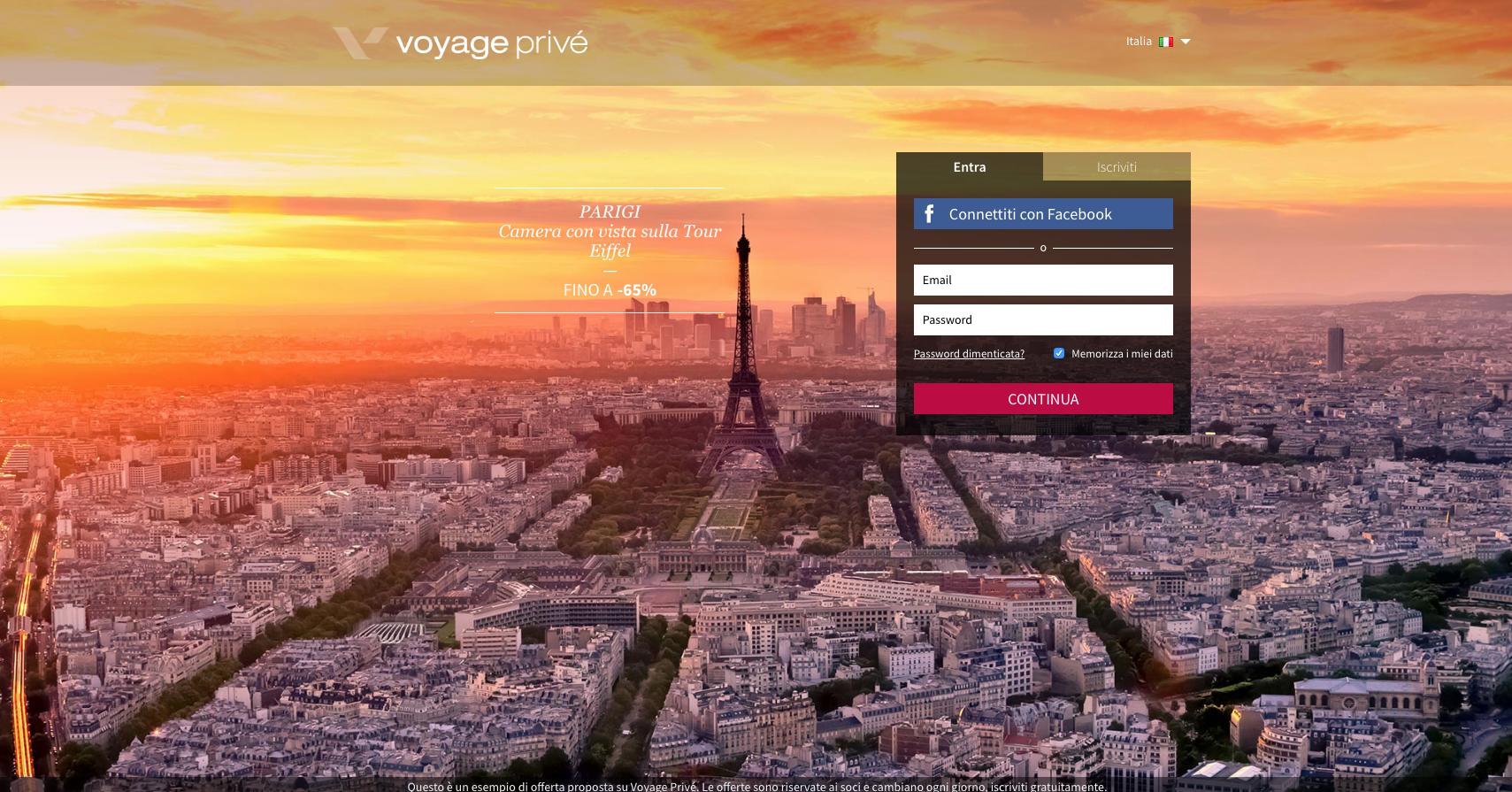 siti web di viaggi: voyageprive
