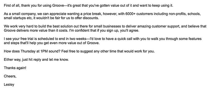 email de agradecimiento